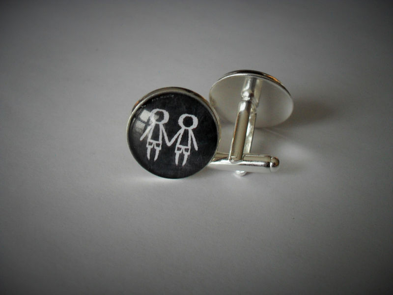 SAME SEX CUFFLINKS / Gay Wedding Cuff Links  / Couple cufflinks / Same Sex Marriage / Gay Pride / Gift boxed / lesbian gift / gay man gift - product image