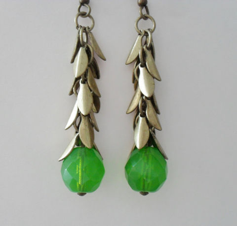 GREEN,Apple,Opal,Glass,&,Antique,Gold,LEAF,Charms,Beaded,Drop,EARRINGS,/,Pretty,Unique,Gift,for,Her,//,Leafy,Earrings,Boxed,Jewelry,One_Of_A_Kind,Hand_Made,Leaves,Antiqued_Gold,Apple_Green,Unique_Gift,Canteam,leaf_earrings,earrings,leaf_charm_earrings