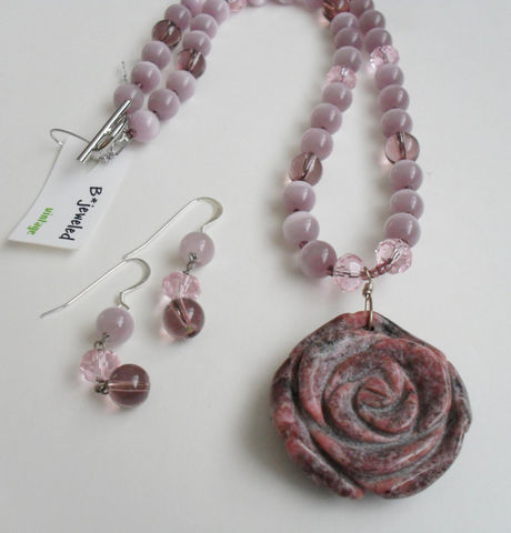 Lavender,,Pink,&,Mauve,Rhodonite,Flower,Pendant,Beaded,NECKLACE,and,EARRINGS,SET,/,Sterling,Silver,Natural,Stone,Set,Gift,Boxed,Jewelry,Canadian,One_Of_A_Kind,Hand_Made,Earrings,Sterling_Silver,Natural_Stone,Lavender_Quartz,Cats_Eye_Glass,Flower_Pendant,Unique_Gift,necklace_set