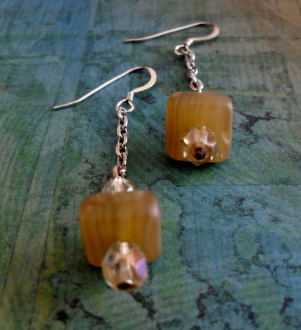 Champagne,&,Honey,GEOMETRIC,Earrings,,,Glass,,Crystal,,Sterling,Silver,DROP,EARRINGS,//,Unique,Gift,for,Her,Boxed,Jewelry,Canadian,One_Of_A_Kind,Hand_Made,Mothers_Day,Sterling_Silver,Geometric,Cube,Geometric_Earrings,Unique_Gift,earrings