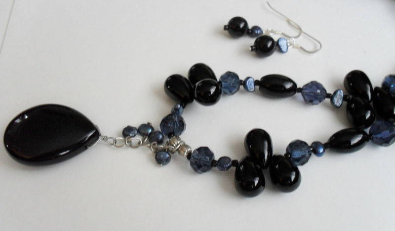 Midnight Blue & Black Beaded Onyx, Crystal and Pearl NECKLACE and EARRINGS SET / Sterling Silver / Natural Stone Beaded Necklace / Gift Box - product image