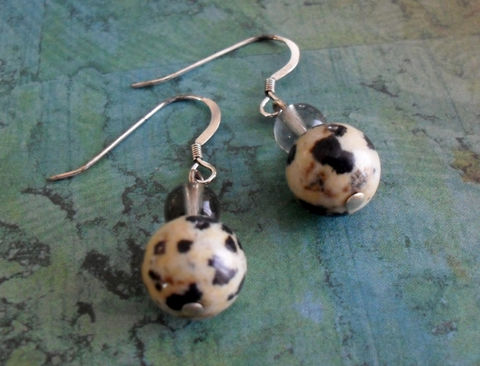 Spotted,DALMATION,JASPER,&,Smokey,QUARTZ,Sterling,Silver,Drop,Earrings,/,Natural,Stone,Earrings/,Simple,gift,for,her,Gift,Boxed,Jewelry,Canadian,One_Of_A_Kind,Hand_Made,Sterling_Silver,Dalmation_Jasper,Smokey_Quartz,Natural_Stone,Spots,Unique_Gift,Canteam,stone_earrings,Bjeweled_Vintage