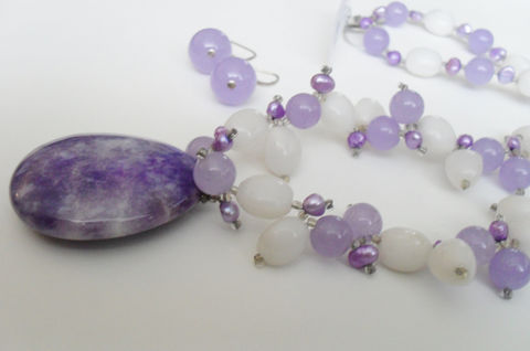 Lavender,&,White,Jade,,Quartz,and,Freshwater,Pearl,Beaded,NECKLACE,EARRINGS,SET,/,Sterling,Silver,Natural,Stone,Set,Gift,Boxed,Jewelry,Canadian,Designer,One_Of_A_Kind,Hand_Made,Sterling_Silver,Natural_Stone,Freshwater_Pearl,Lavender_Jade,Snow_Quartz,Lavender_Quartz,Unique_Gift,beaded_necklace_set,necklace_earrings