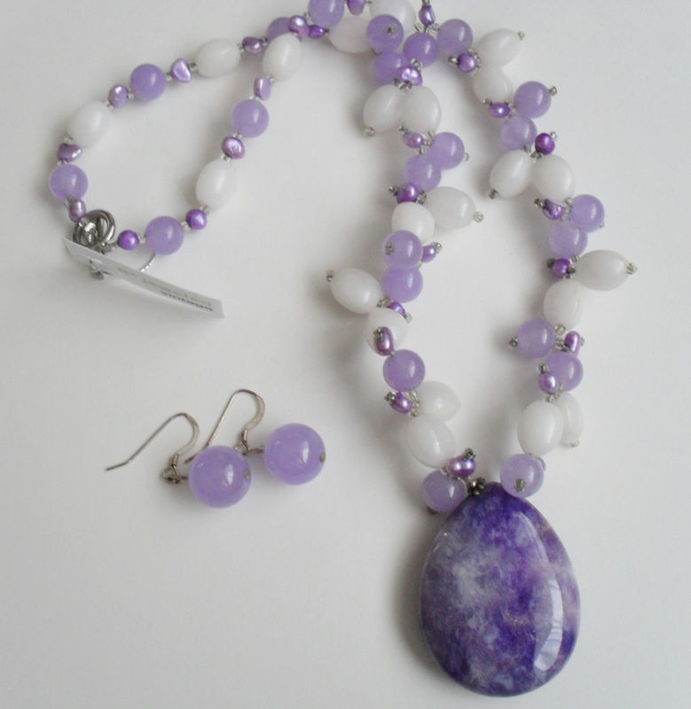 Lavender & White Jade, Quartz and Freshwater Pearl Beaded NECKLACE and EARRINGS SET / Sterling Silver / Natural Stone Set / Gift Boxed - product image