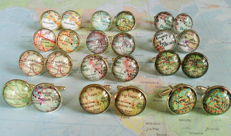 Map Cufflinks / Groomsmen Gifts / 11 sets / Made to Order / 2 Sizes / Custom Map Cuff Links / Mix and match / Gift boxed / Wedding cufflinks - product image