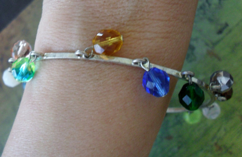RAINBOW CRYSTAL Beaded Silver BANGLE Bracelet / Rainbow Beaded Bangle / large / Unique / Gift for Her / Gift Boxed - product image