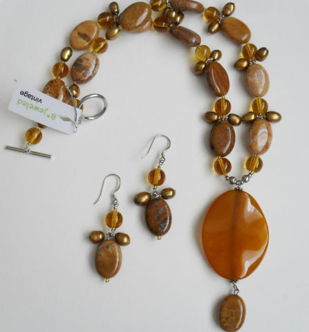 Picture,Jasper,,Freshwater,Pearl,,Amber,Glass,&,Agate,Pendant,NECKLACE,and,EARRINGS,SET,/,Sterling,Silver,/Natural,Stone,Set/,Gift,Boxed,Jewelry,One_Of_A_Kind,Hand_Made,Sterling_Silver,Natural_Stone,Freshwater_Pearl,Amber_Glass,Picture_Jasper,Unique_Gift,necklace_earrings,necklace_set,beaded_necklace_set,made_in_canada