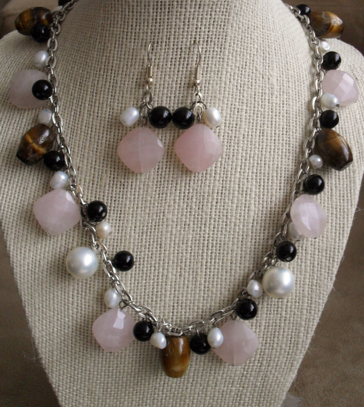 Rose Quartz, Tigereye , Onyx & Pearl NECKLACE and EARRINGS SET / Sterling Silver / Unique Gift for Her / Natural stone / Gift Boxed - product image