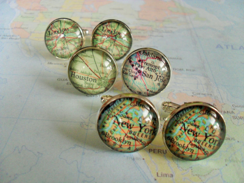 Map Cufflinks / Groomsmen Gift / 3 sets / Made to Order / 2 Sizes / Custom Map Cuff Links / Mix and match / Gift boxed / Wedding cufflinks - product image