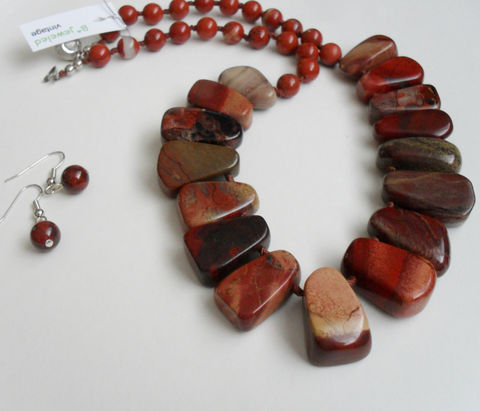 Fabulous,POPPY,JASPER,Beaded,Nugget,Hand,Knotted,Necklace,and,Earrings,SET,/,Gold,Filled,Natural,Stone,Unique,Gift,Box,Jewelry,One_Of_A_Kind,Hand_Made,Sterling_Silver,Natural_Stone,14k_Gold_Filled,Poppy_Jasper,Hand_Knotted,Beaded_Necklace_Set,Unique_Gift,jasper_necklace_set,necklace_earrings,tribal_necklace,made_in_Canada