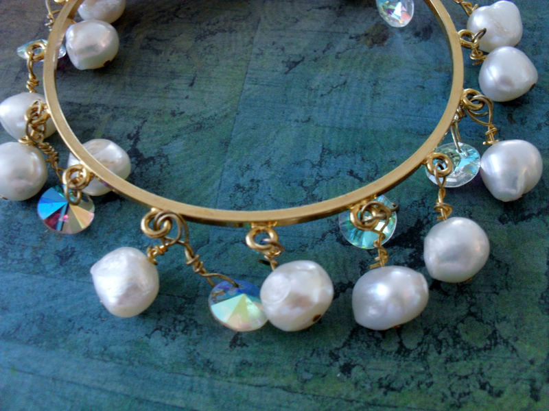 Stunning Swarovski Rivoli Crystal & Freshwater Pearl BEADED Gold BANGLE BRACELET / Small / Bridal Jewelry / Gift Boxed - product image