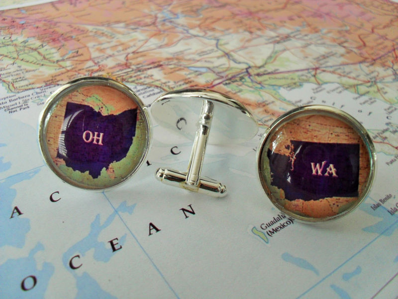 STATE MAP CUFFLINKS / Personalized Groomsmen Gift /  Any State / 2 Sizes / Neat Cuff Links / Wedding / Gift Boxed - product image
