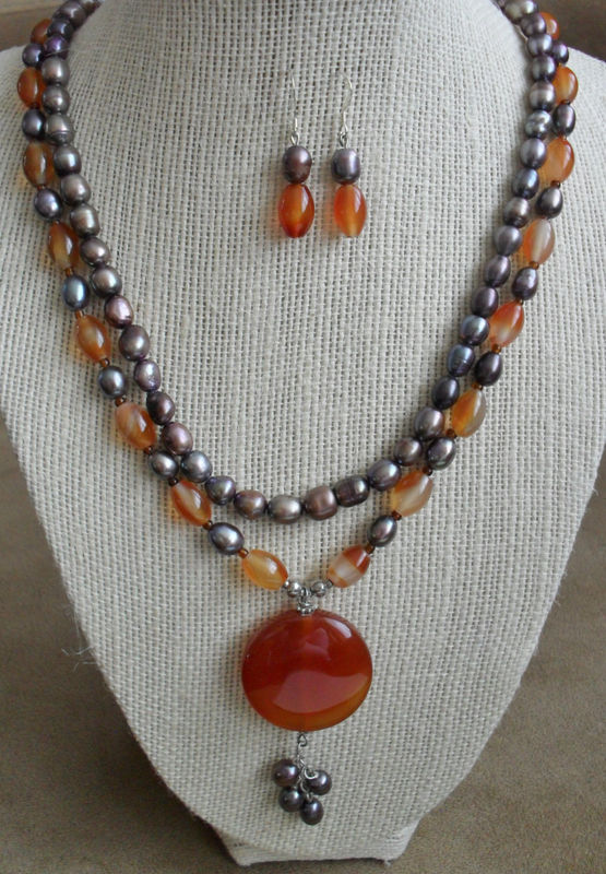 Gorgeous AGATE & Peacock Freshwater PEARL Beaded Necklace and Earrings SET / Sterling Silver / natural Stone Necklace Set / Gift Boxed - product image