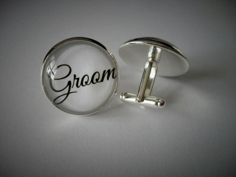 WEDDING PARTY CUFFLINKS / Groom / Groomsman / Grooms Father / Best Man / Grandfather / Gift for Him / Wedding / 2 Sizes / Cuff Links - product image
