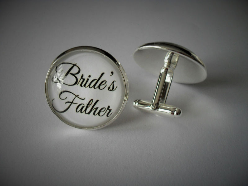 FATHER of the BRIDE CUFFLINKS / Bride's Father , I Loved Her First  / Gift for Him / Wedding / 2 Sizes / Cuff Links - product image