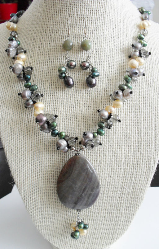 Intricate Fancy Jasper, Smoky Quartz & Rainbow Freshwater Pearl Beaded NECKLACE and EARRINGS SET / Sterling Silver / Gift boxed - product image
