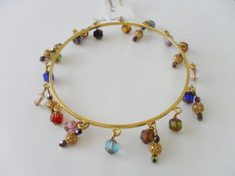 Filigree & Rainbow Cathedral Crystal  BEADED BANGLE BRACELET / large / gold / unique / gift for her / Gift boxed - product image