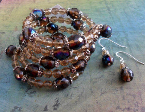Beautiful,Browns,Beaded,Crystal,Wrap,BRACELET,&,EARRINGS,SET,/,Sterling,Silver,Unique,Gift,for,Her,Jewelry,Bracelet,Canadian,Designer,One_Of_A_Kind,Hand_Made,Memory_Wire,Sterling_Silver,Unique_Gift,Canteam,beaded_bracelet_set,bracelet_and_earring,brown_crystal_set