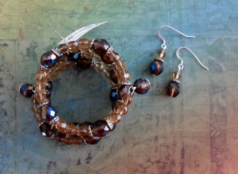 Beautiful Browns Beaded Crystal Wrap BRACELET & EARRINGS SET / Sterling Silver / Unique Gift for Her / Sterling Silver - product image