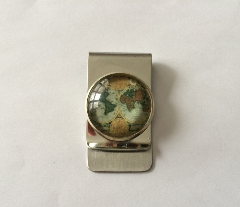 Money Clip / Antique Globe design / World map / Unique Gift for Him / Under 20 dollars / Vintage Map / Stainless steel / Gift Boxed - product image