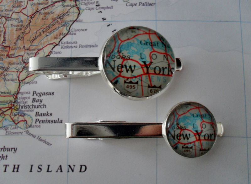 NEW YORK City MAP Silver Tie Bar / Groomsmen Gift / Gift for Him / Anniversary / 2 Sizes /  Map Tie Clip / Tie Clasp / Tie Slide / Gift box - product images