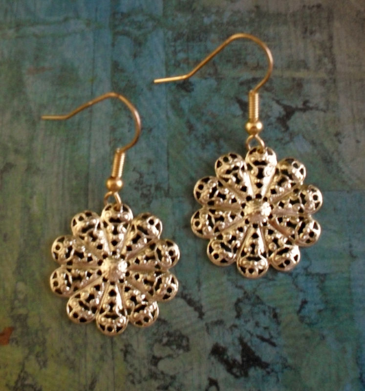 Gold FILIGREE SNOWFLAKE EARRINGS / Pretty / Unique Gift for Her / Under 10 Dollars / Gift boxed - product images