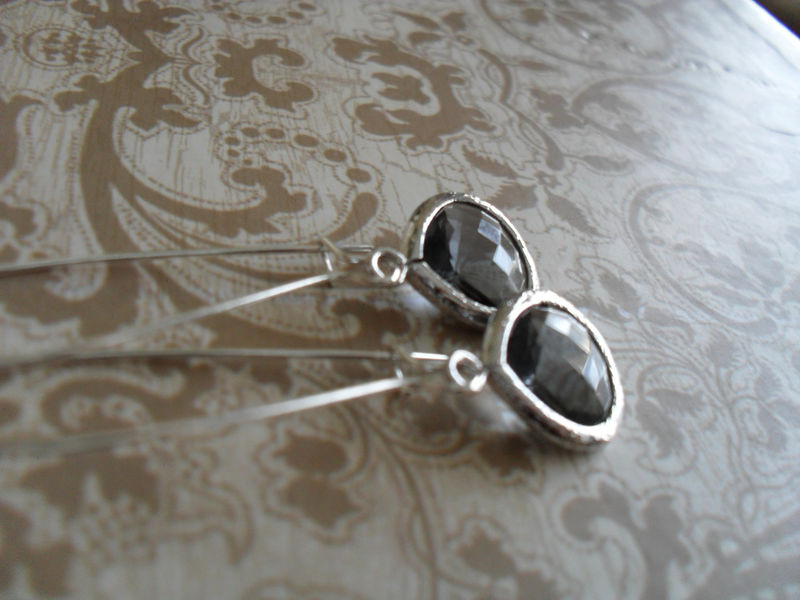CHARCOAL GRAY Drop EARRINGS / Faceted Glass / Silver / Dangle / Bridesmaid / Bridal / Simple / Gift boxed - product image