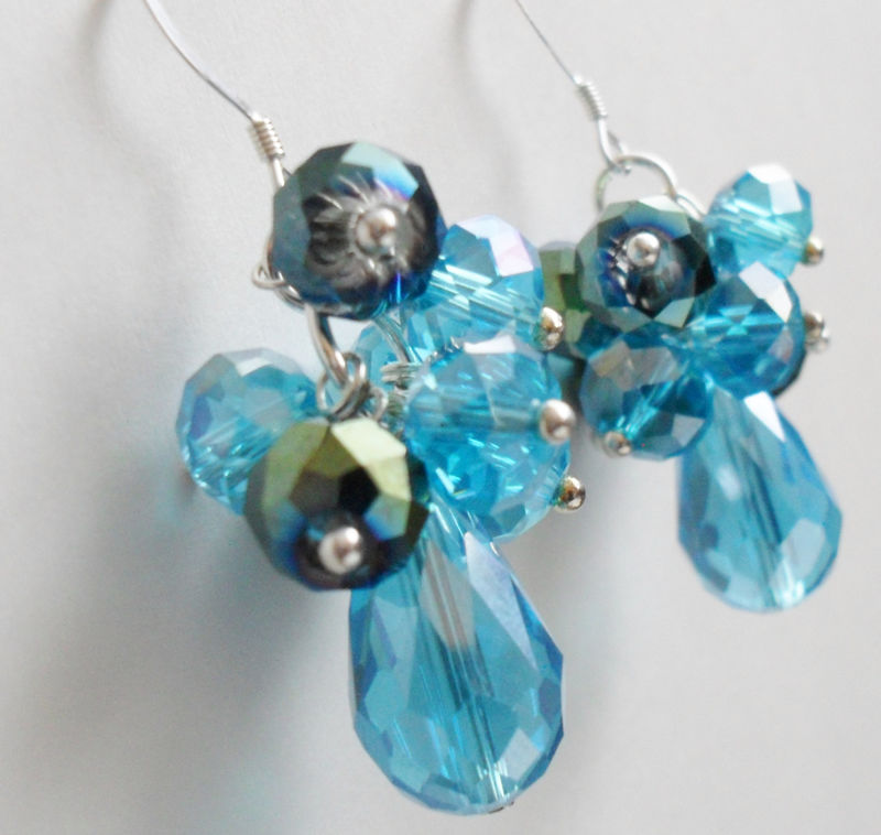 Tantalizing Turquoise Aqua CASCADING CRYSTAL EARRINGS / Sterling Silver / Blues / Unique Gift for Her / Gift boxed - product image
