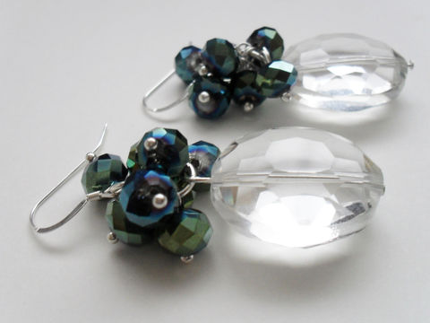 SHOWSTOPPER,Midnight,Blue,Black,&,Clear,CRYSTAL,EARRINGS,/,Sterling,Silver,Unique,Gift,for,Her,boxed,Jewelry,Earrings,One_Of_A_Kind,Hand_Made,Mothers_Day,Prom,Cascading,Sterling_Silver,Aurora_Borealis,Bridal,Midnight_Blue,Unique_Gift,crystal_earrings
