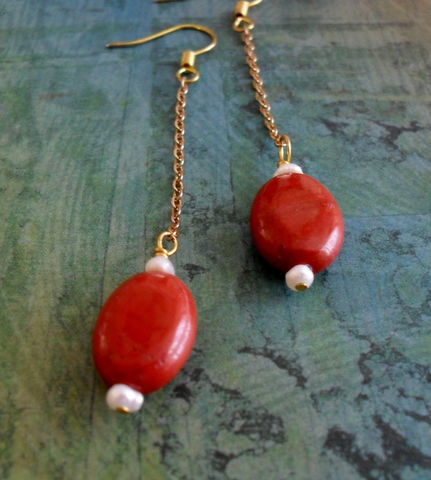 Red,JASPER,&,Freshwater,PEARL,14k,gold,filled,chain,Drop,EARRINGS,/,Elegant,Stone,Earrings,Unique,Gift,for,Her,Boxed,Jewelry,Canadian,One_Of_A_Kind,Hand_Made,Mothers_Day,Freshwater_Pearl,14k_Gold_Filled,Red_Jasper,Nickel_Free,Unique_Gift,Canteam,stone_earrings