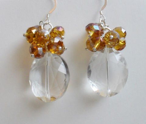 SHOWSTOPPER,Amber,&,Clear,CRYSTAL,EARRINGS,/,Sterling,Silver,Unique,Elegant,Gift,for,Her,boxed,Jewelry,Earrings,One_Of_A_Kind,Hand_Made,Mothers_Day,Prom,Cascading,Sterling_Silver,Aurora_Borealis,Bridal,Unique_Gift,crystal_earrings,beaded_earrings