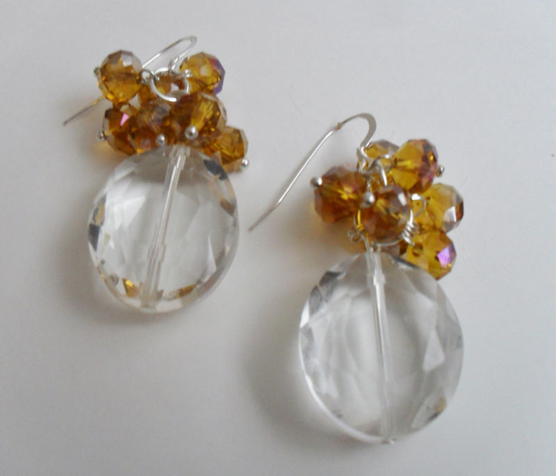 SHOWSTOPPER Amber & Clear CRYSTAL EARRINGS  / Sterling Silver / Unique / Elegant / Gift for Her / Gift boxed - product image