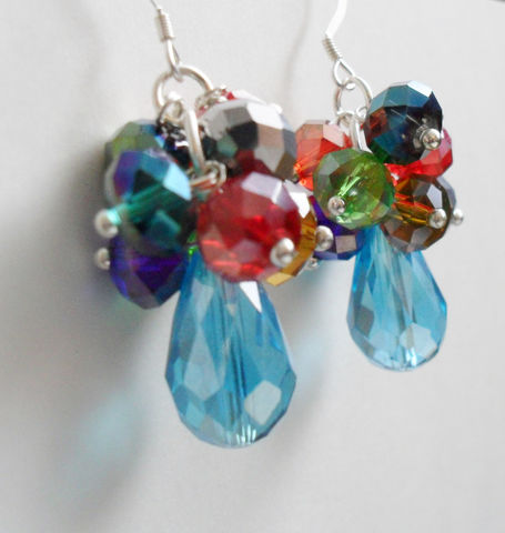 Ravishing,RAINBOW,Cascading,CRYSTAL,EARRINGS,/,Sterling,Silver,Colorful,Earrings,Unique,Gift,for,Her,boxed,Jewelry,Canadian,One_Of_A_Kind,Hand_Made,Prom,Sterling_Silver,Pear_Shaped,Unique_Gift,crystal_earrings,rainbow_earrings,beaded_earrings