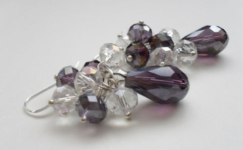Smoldering,Smoky,Purple,&,Clear,CASCADING,CRYSTAL,EARRINGS,/,Sterling,Silver,Bridal,Earrings,Gift,Boxed,Weddings,Jewelry,Bjeweled_Vintage,One_Of_A_Kind,Hand_Made,Mothers_Day,Prom,Cascading,Sterling_Silver,Aurora_Borealis,Unique_Gift,bridal_earrings,crystal_earrings