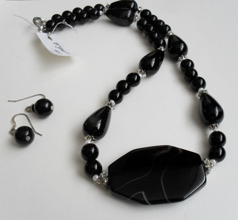 BLACK Onyx & Striped Black Agate NECKLACE and EARRINGS Set / Sterling Silver / Semi Precious Stone / Natural Stone / Unique Gift  / Gift box - product image