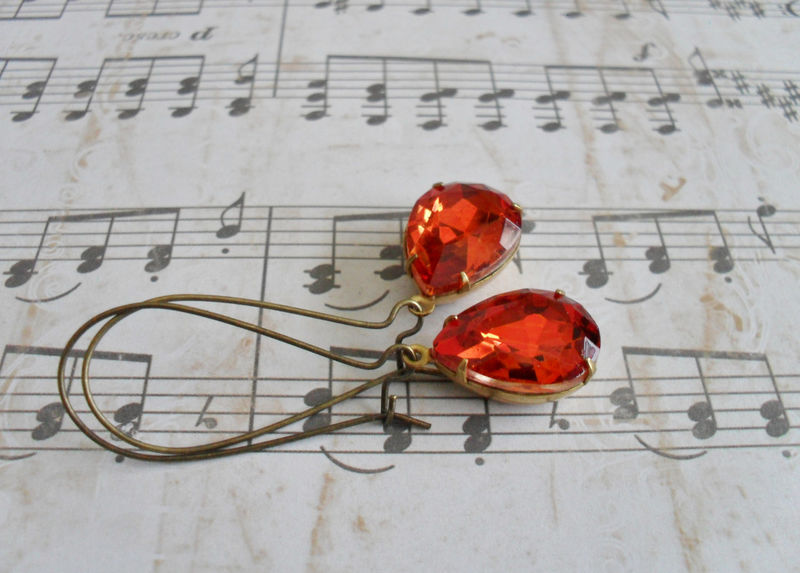 VINTAGE Hyacinth ORANGE Rhinestone Drop EARRINGS / Czech Glass / Pear Shaped / Simple /  Dangle / Bridesmaid / Autumn / Deep Orange Earrings - product image