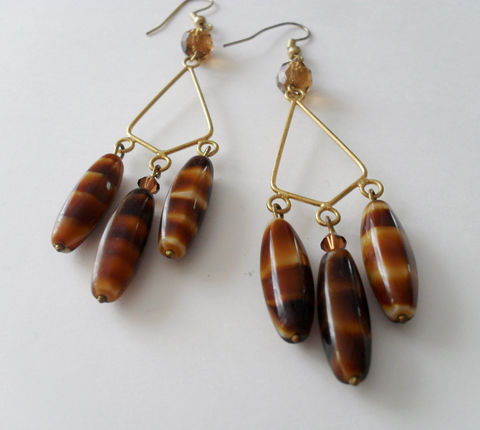 Caramel,Swirl,VINTAGE,GLASS,&,Swarovski,Crystal,Gold,Chandelier,EARRINGS,/,Unique,Gift,for,Her,Boxed,Jewelry,Earrings,Canadian,One_Of_A_Kind,Hand_Made,Mothers_Day,Czechoslovakian,Vintage,Unique_Gift,Canteam,vintage_bead_earring,chandelier_earrings