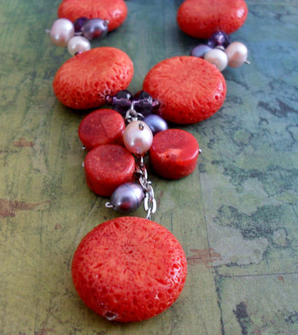 Sponge,CORAL,,,Crystal,&,PEARL,Beaded,NECKLACE,/,Colorful,Unique,Gift,for,Her,Sterling,Silver,boxed,Jewelry,Necklace,Canadian,Designer,One_Of_A_Kind,Hand_Made,Freshwater_Pearl,White,Sponge_Coral,Coral,Purple_Crystal,Vibrant,Unique_Gift,Canteam,beaded_necklace