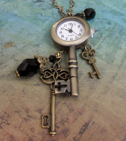 Antique,Bronze,Keys,WATCH,Pendant,Charm,NECKLACE,/,STEAMPUNK,Unique,Gift,for,Her,boxed,Jewelry,Necklace,One_Of_A_Kind,Hand_Made,Steampunk,Watch_Pendant,Pocketwatch,Vintage_Inspired,Charms,Antique_Bronze,Gift_For_Her,French_Jet,charm_necklace,vintage_charms