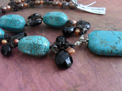 TURQUOISE,,,ONYX,Smoky,Quartz,&,PEARL,Beaded,Necklace,/,Gemstone,Unique,Gift,for,Her,Boxed,Jewelry,Canadian,Designer,One_Of_A_Kind,Hand_Made,Pendant,Freshwater_Pearl,Turquoise,Smoky_Quartz,Onyx,Peach,Unique_Gift,Canteam,beaded_necklace