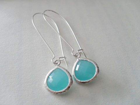 MINT,OPAL,Drop,EARRINGS,/,Faceted,Glass,Framed,Earrings,Silver,Dangle,Bridesmaid,Bridal,Simple,Gift,Boxed,Jewelry,Wedding,Nickel_Free,Faceted_Glass,White_Gold,Mint_Green,Opal,Canteam,framed_glass,earrings