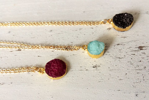 Druzy,Necklace,/,Gold,Dipped,Pendant,deep,pink,black,aquamarine,quartz,Simple,Drusy,Raw,Stone,Gift,boxed,Jewelry,Canadian,Hand_Made,Silver,Genuine_Stone,Druzy_Pendant,Gift_For_Her,Unique_Gift,raw_stone_pendant,gold_dipped_druzy,druzy_necklace,black_pink_aqua