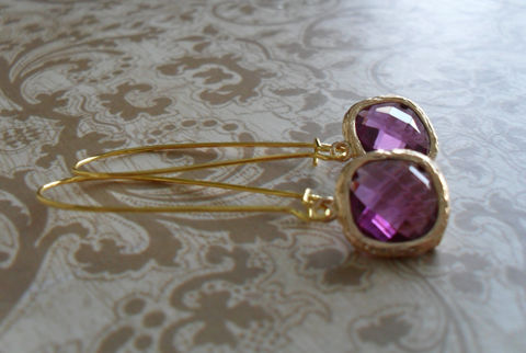 PURPLE,EARRINGS,/,AMETHYST,Glass,Drop,Earrings,Faceted,Gold,Framed,Dangle,Bridesmaid,Bridal,Gift,boxed,Jewelry,Wedding,Nickel_Free,Faceted_Glass,Simple,Framed_Glass,Bridesmaid_Jewelry,Amethyst_Glass_Drop,Purple_Earrings,Bridesmaid_Earrings,Amethyst_Earrings,Bridal_Jewellery,Gift_Boxed
