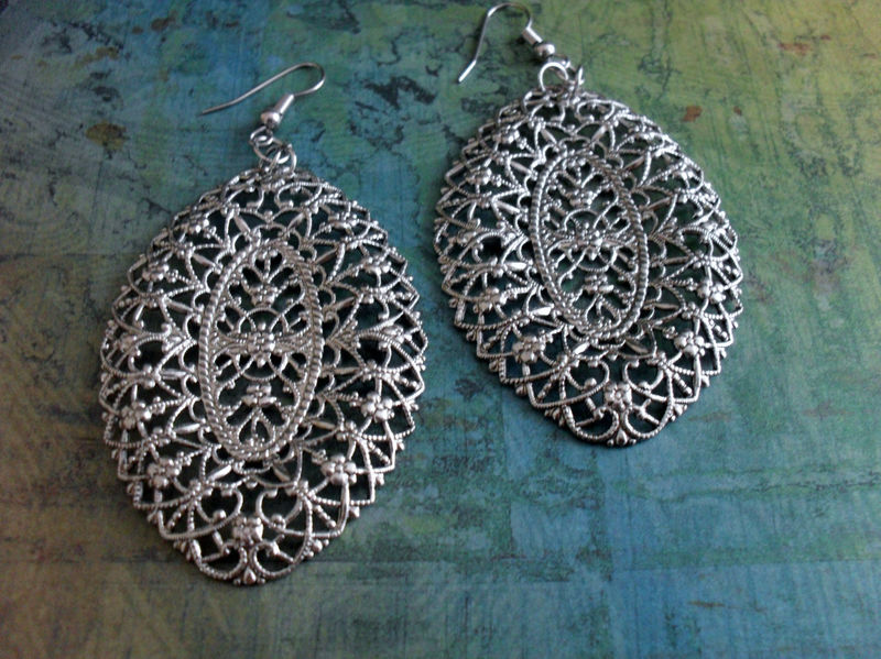 Vintage Inspired Intricate SILVER Floral FILIGREE EARRINGS / Big and Bold / Romantic / Unique Gift for Her /Gift boxed - product image
