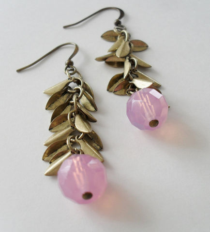 Pretty,PINK,OPAL,Glass,&,Antique,Gold,LEAF,Charms,Beaded,Drop,Earrings,/,Unique,Gift,for,Her,Boxed,Jewelry,Canadian,Hand_Made,Mothers_Day,Leaves,Leaf,Antiqued_Gold,Pink,Opal,Unique_Gift,Canteam,autumn_earrings,pink_earrings