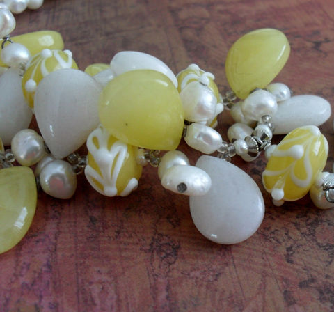 Lemon,Jade,,Snow,Quartz,,Art,Glass,&,Pearl,Beaded,NECKLACE,/,YELLOW,and,WHITE,Intricate,Necklace,Summery,Unique,Gift,for,Her,Jewelry,Canadian,Designer,One_Of_A_Kind,Hand_Made,Citrus,Yellow,Jade,Art_Glass,Snow_Quartz,Unique_Gift,Canteam,beaded_necklace