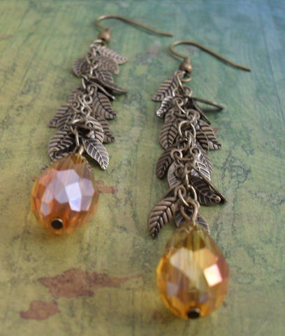Amber,Topaz,CRYSTAL,&,LEAF,Chain,Drop,EARRINGS,/,Antique,Bronze,Unique,Gift,for,Her,Leafy,Autumn,Earrings,boxed,Jewelry,Canadian,Designer,One_Of_A_Kind,Hand_Made,Crystal,Antique_Brass,Leaf,Leaves,Unique_Gift,Canteam,leaf_earrings