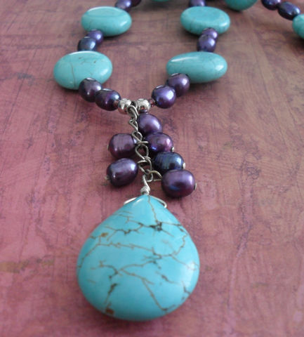 Purple,PEARL,&,TURQUOISE,Beaded,NECKLACE,/,Semi,Precious,Stone,Necklace,Turquoise,and,Unique,Gift,for,Her,Jewelry,Canadian,Designer,One_Of_A_Kind,Hand_Made,Pendant,Freshwater_Pearl,Semi_Precious,Unique_Gift,Canteam,beaded_necklace,turquoise_necklace