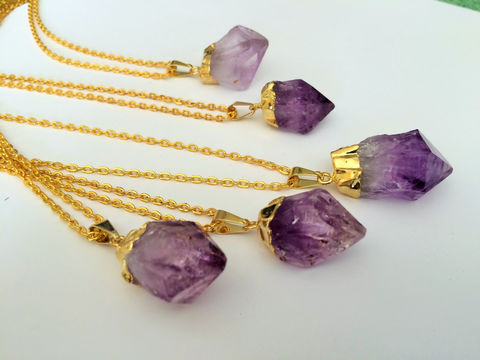 Gold,Dipped,RAW,AMETHYST,Crystal,NECKLACE,/,Natural,Amethyst,Pendant,Choose,Your,Stone,Point,February,Birthstone,Gift,Boxed,Jewelry,Necklace,raw_amethyst,amethyst_necklace,amethyst_crystal,amethyst_pendant,February_birthstone,Amethyst_point,natural_stone,purple,healing_properties,gold_dipped,crystal_necklace,amethyst_stone,made_in_Canada