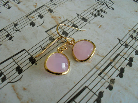 Gold,Framed,Faceted,FROSTED,PINK,Drop,EARRINGS,/,Pink,Opal,Glass,Dangle,Simple,Bridesmaid,Elegant,Gift,Boxed,Jewelry,Earrings,Hypoallergenic,Hand_Made,Faceted_Glass,Wedding,Unique_Gift,earrings